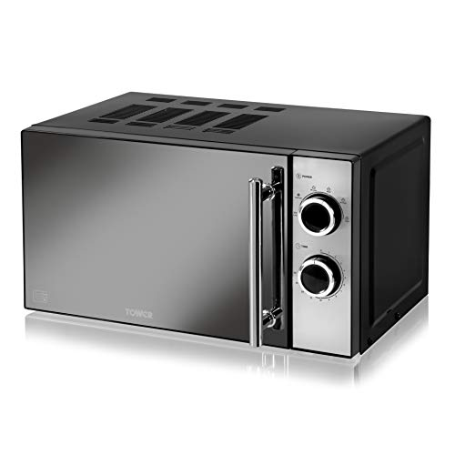 Tower Manual Solo Microwave with 5 Power Levels, 30 Minute Timer, Defrost Function, Stylish Mirrored Door, 800 W, 20 Litre, Black