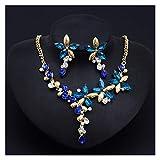 DSJTCH Cristal Color COLLA DE Flores Anillo Ear JOYERO Set Femenino Moda CLÁSICO (Color : Blue)