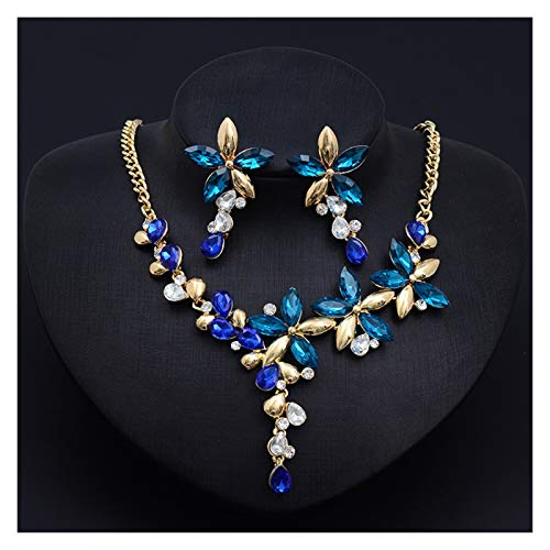 DSJTCH Cristal Color COLLA DE Flores Anillo Ear JOYERO Set Femenino Moda CLÁSICO (Color : Blue)