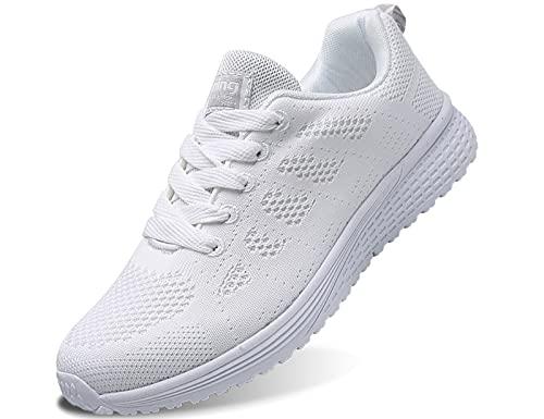 IYVW A08 Damen Sneakers Frauen Freizeitschuhe Laufschuhe Outdoor Schuhe Dicken Sohlen Luftkissenschuhe Sneakers Turnschuhe Freizeitschuhe Weiß 37 EU