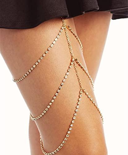 Cadena de muslo para pierna con diamantes de imitación, cadena de cuerpo sexi brillante para mujer, arnés para pierna y muslo, joyería para playa, múltiples capas, cadenas de roca de Color dorado