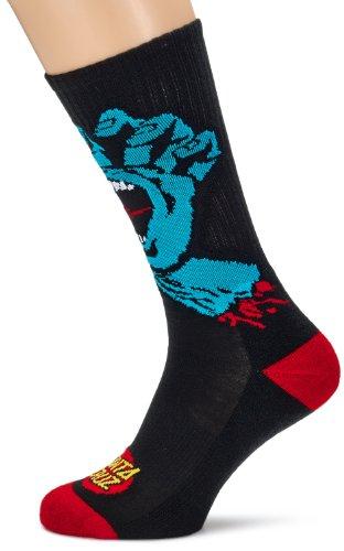 Santa Cruz Socks Screaming Hand, Black, One Size