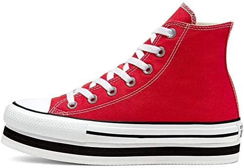 CONVERSE Chuck Taylor All Star Platform Layer Bottom Zapatos Deportivos para MUIER Rojo 567996C
