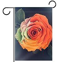 ガーデンフラッグ縦型両面 12x18inch 庭の屋外装飾,レインボーローズ人工花