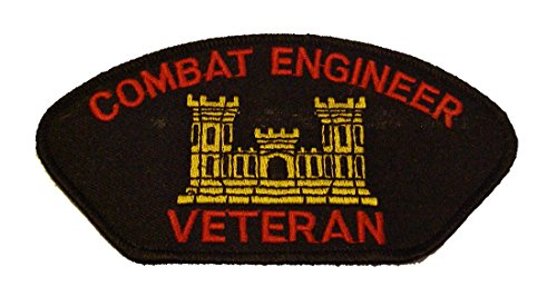 COMBAT ENGINEER VETERAN with CASTLE PATCH - Red and Gold on Black Background - Veteran Owned Business