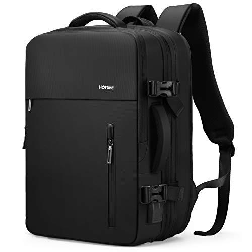 HOMIEE Handgepäck Reiserucksack, Supergroß Laptop Rucksack 15.6 Zoll Erweiterbar Diebstahlsicher Wasserabweisend Daypack, Flug Genehmigt Backpack Kabinenrucksack Bordgepäck für Weekender