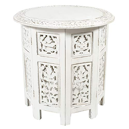 Cotton Craft -Jaipur Solid Wood Handcrafted Carved Folding Accent Coffee Table - Antique Silver and...