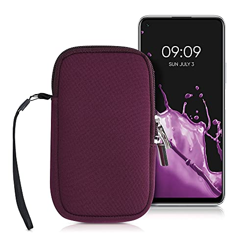 kwmobile Estuche de Neopreno Universal para Smartphone - Funda Protectora con Cremallera para M - 5,5' Ocre Oscuro
