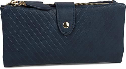 styleBREAKER Damen Portemonnaie mit V-Förmig geprägter Struktur, Druckknopf, Reißverschluss Geldbörse 02040124, Farbe:Dunkelblau