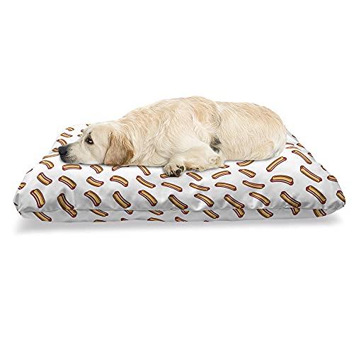 ABAKUHAUS Hotdog Haustierbett, Einfaches köstliches Lebensmittelmotiv, beissfestes Kissen für Hunde und Katzen mit abnehmbaren Bezug, 60 cm x 100 cm, Orange Burgund