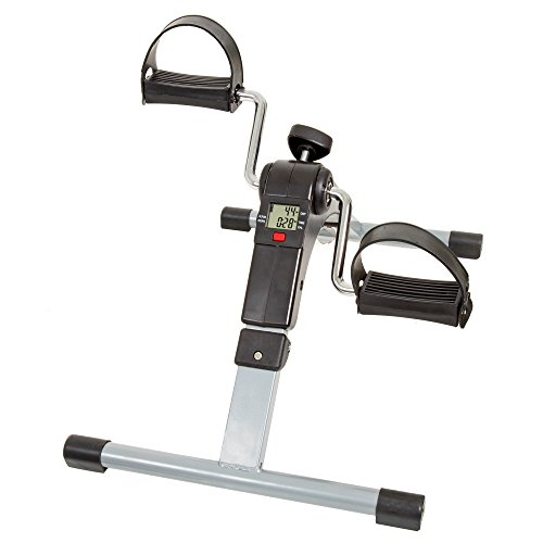 Under Desk Bike Pedal Exerciser with Calorie Tracker and Adjustable Resistance – Mini Foldable Indoor Workout Equipment by Wakeman Fitness from Trademark Global
