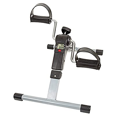 Wakeman Portable Folding Fitness Pedal Stationary Under Desk Indoor Exercise Bike for Arms, Legs, Physical Therapy with Calorie Counter