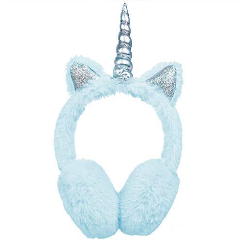 SEDEX Orejeras Térmicas para Niños Esponjosas Felpa Cálida Orejeras de Unicornio Protección Contra El Viento Invierno Accesorio de Esquí Moda Regalo para Niñas