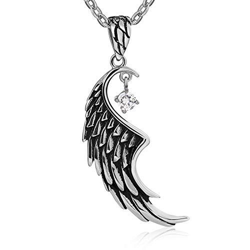 Amody Collar de Acero Inoxidable para Mujeres Hombres Wing Circonia cúbica Colgante Collar