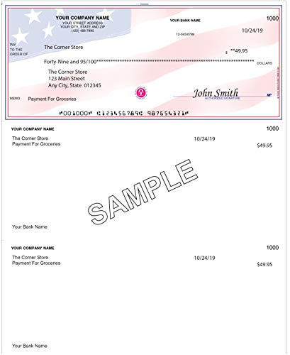 Checks For Less   Business Laser Voucher Checks Signature Line Only   Top Check with Two Vouchers   Quick Books/Quicken Compatible   Use with Laser or Inkjet Printers (100, American Flag)
