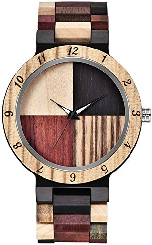 Inverted Geometric Wood Watch Creative Quartz Watch for Men Hand-Made Wooden Watches (Khaki)