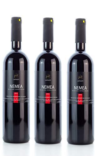 3 x NEMEA griechischer Rotwein trocken 750ml 12,5% Lafkioti plus 1x 10 ml Olivenöl aus Griechenland im Sachet