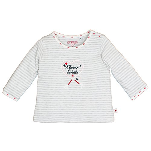 SALT AND PEPPER Salt & Pepper Baby-Mädchen NB Longsleeve Schatz Stripe Langarmshirt, Grau (Light Grey Melange 201), 68