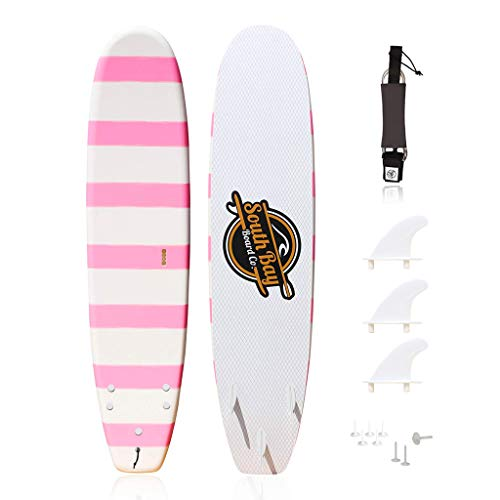 South Bay Board Co. - Basic Beginner Soft-Top Foam Surfboards for Kids, Teenagers, and Lightweight Adults - 8' Guppy - Pink - Fins & Leash Included & EZ Carry Handle