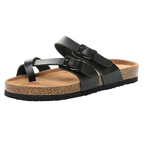 Logobeing Zapatos Mujer Sandalias Planas de Cuero de Doble Hebilla Plataforma Zapatillas de Corcho de Suela Gruesa (40, Negro)