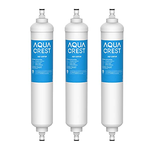 AQUA CREST GXRTQR Inline Water Filter, NSF Certified, Compatible with GE GXRTQR, GXRTQ System, Reduces Chlorine, Fluoride, Limescale and More, for Refrigerator, Ice Maker, RVs (Pack of 3)