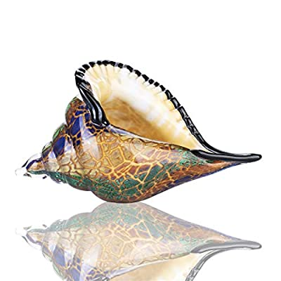 Glass Conch, Hand Blown Seashell Art Glass Figurine, Crystal Glass Paperweight, Home Decor Collectible Statue