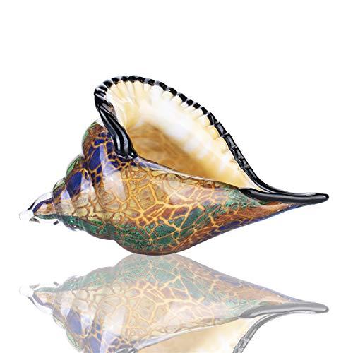 YU FENG Geblasene Glasmuschel-Skulptur, handgefertigt, aus Glas, Conch, Meerestier, Briefbeschwerer (braun)