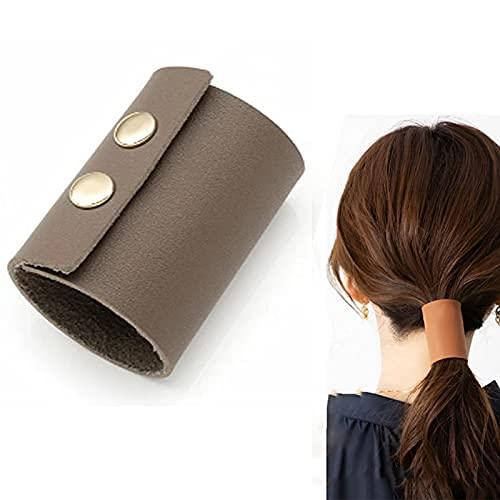 5 piezas de coleta de caballo, puño de cuero para el pelo, soporte de cuero para coletas de caballo, puños de cuero para cabello de mujer (gris)