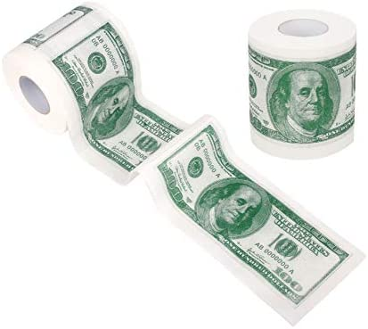 SummitLink 2 Rolls 100 Hundred US Dollar Bill Toilet Paper Tissue Napkin Prank Fun Birthday product image