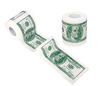 SummitLink 2 Rolls $100 Hundred US Dollar Bill Toilet Paper Tissue Napkin Prank Fun Birthday Party Novelty Gift Idea
