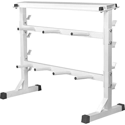GORILLA SPORTS® Hantelscheiben-Ständer 30/31 mm - Ablage für Gewichte Weiss