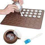 Macaron Molde - Macaron Silicone Baking Mat con 48 Capacidad, decorating Pen Icing Tips (4 boquillas +Cepillo de Aceite)