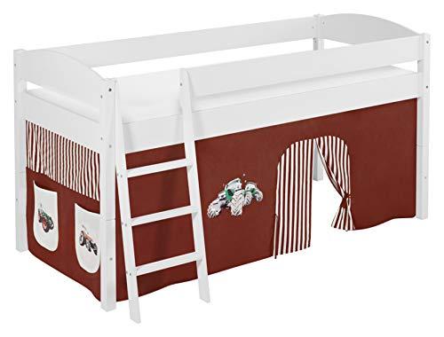 Lilokids Spielbett IDA 4105 Trecker Braun Beige-Teilbares Systemhochbett weiß-mit Vorhang Kinderbett, Holz, 208 x 98 x 113 cm