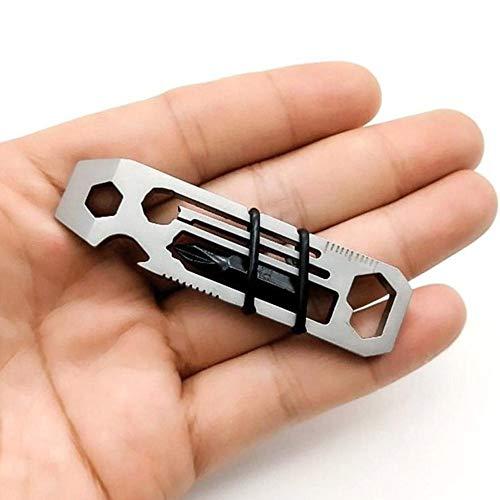 LIANAN IRWIN Kompaktes 6-in-1Multitool Multi Tool,Keychain Edelstahl EDC Flaschenöffner,Flacher Schraubendreher,Sechskantschlüssel,Phillips-Schraubendreher