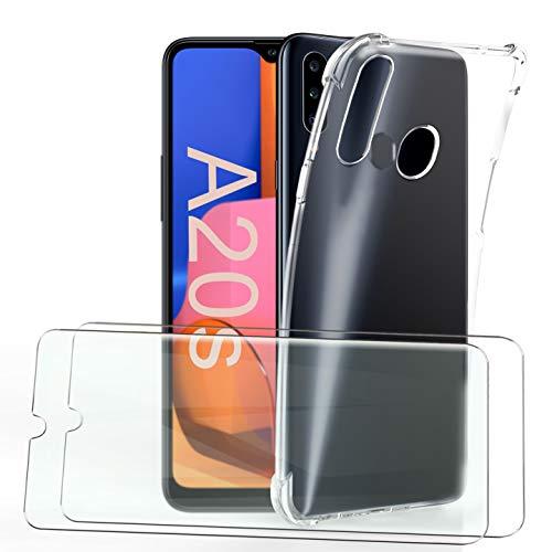 HTDELEC für Samsung Galaxy A20s Hülle +[2 Stück] Panzerglas Schutzfolie,Transparent Weiche Durchsichtig Dünn Handyhülle mit Stoßdämpfung Hülle für Samsung Galaxy A20s-Stoßfest