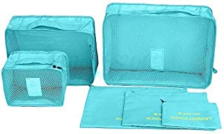 Mbangde 6 Set Waterproof Packing Cubes, Backpack Storage Bags, Travel Luggage Clothes Compression Organizer - 3 Travel Cubes + 3 Pouches - Light Blue