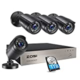 ZOSI 8CH 1080P Home Security Cameras System with 1TB Hard Drive,H.265+ 8 Channel 5MP Lite CCTV DVR and (4) x1080P Indoor Outdoor Surveillance Cameras with Night Vision, Motion Alert,Remote Access