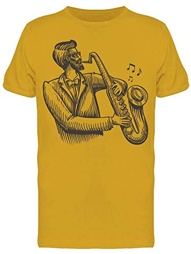 Camiseta masculina Musician Plays The Saxophone, Dourado, XXG