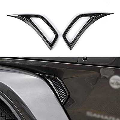 BORUIEN Carbon Fiber Grain Car Wheel Eyebrow Side Air Conditioning Vent Outlet Decoration Cover Sticker for Jeep JL Wrangler 2018 Up