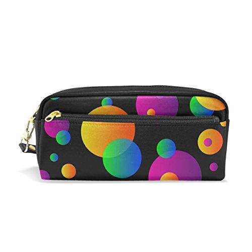 Bennigiry Dots Clipart Colorfu Circle portatile caso matita penna organizzatore borsa scuola penna borse PU grande capacità trucco trousse