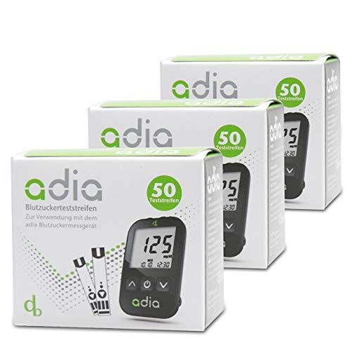 adia Blutzuckerteststreifen, 150 Stück, die günstige und einfache Blutzuckermessung zur Blutzucker-Kontrolle bei Diabetes