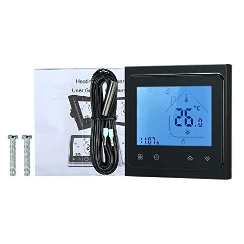 Mingtongli Temperatura Baja Calefacción eléctrica termostato de Ambiente Controlador de Pantalla LCD con luz de Fondo, Negro