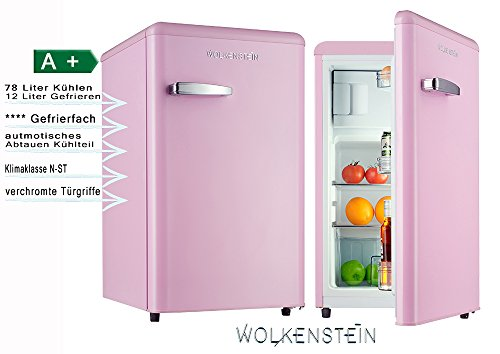 Retro Kühlschrank mit Gefrierfach Pink KS 95RT SP A+ 90 Liter Nostalgie Design Rosa