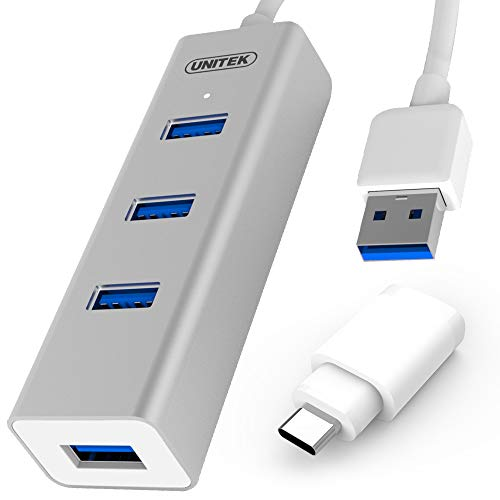 UNITEK aluminium USB-hub 4 poorten 3.0 + 1x USB C, SuperSpeed Datahub Multiport distributeur voor PC, laptop, toetsenbord, muis, printer, iOS (Mac) + Windows compatibiliteit, Plug & Play