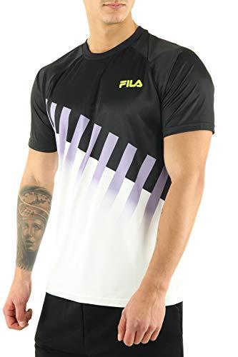 Fila T-Shirt Garson Raglan Tee Men Nero Bianco Viola 687107-A168 (XS - Nero)