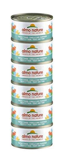 Almo Nature Mega Pack -Trota e Tonno, Cibo Umido per gatti adulti 100% Naturale. Confezione da 6 lattine x 70g