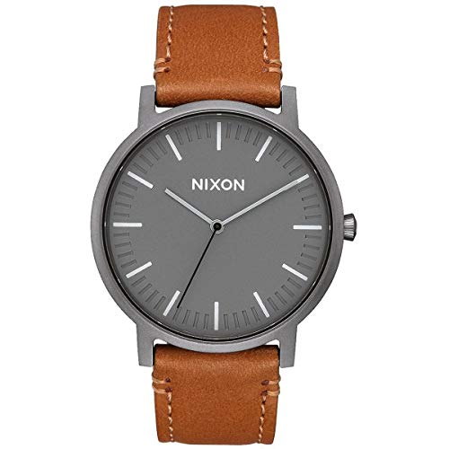 Nixon Porter Leather A10582494-00. Gunmetal Grey and Tan Leather Men's Watch (20-18mm Brown Leather Band and Gunmetal 40mm Watch Face)