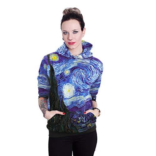 ZYSQWY 3D Felpe con Cappuccio Autunnale Van Gogh Maglione con Cappuccio Dipinto ad Olio Tasca da Donna Testa Superiore Cappotti Autunno e Inverno Elastico Confortevole e Traspirante, M