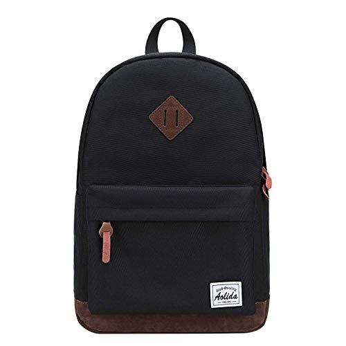 Neuleben Damen Herren Daypack Wasserabweisend Rucksack Schulrucksack Jungen Mädchen Teenager Rucksäcke Backpack mit 14 Zoll Laptopfach (Schwarz)