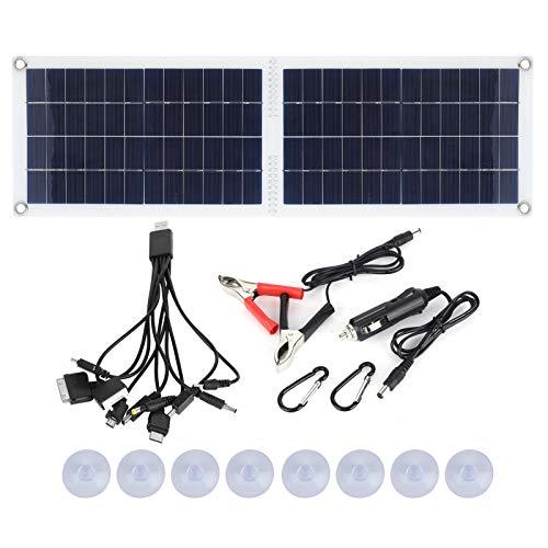 Cargador de panel solar plegable de 30 vatios, cargador de batería solar portátil integrado en el puerto USB, cargador solar de camping para acampar al aire libre, viajes, coche, caravana, barco, etc.